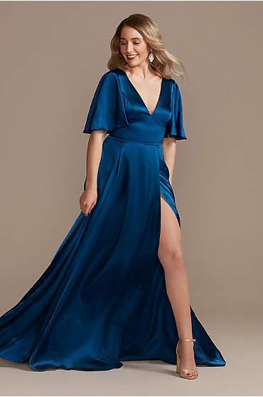 Charmeuse Flutter-Sleeve A-Line Bridesmaid Dress