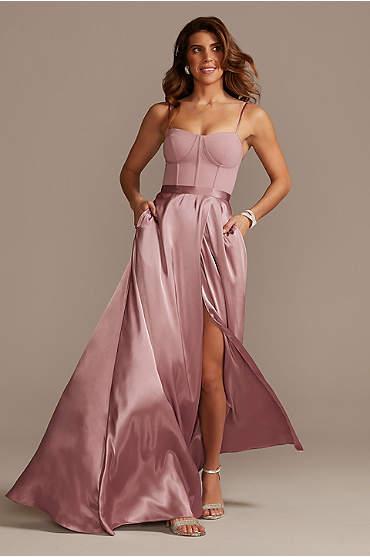Crepe Corset Bridesmaid Dress with Charmeuse Skirt