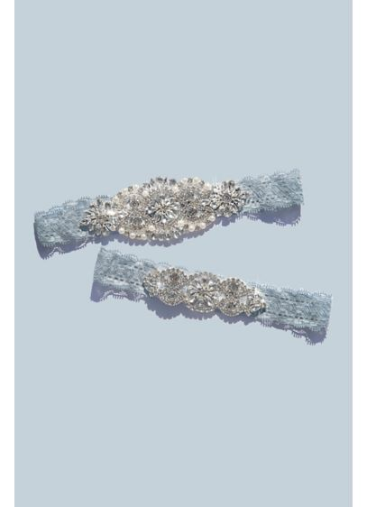 Deco Crystal Encrusted Lace Garter Set - Gorgeously encrusted with twinkling pave crystals, this garter