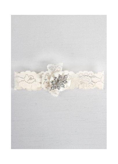 Rhinestone and Ruffle Brooch Vintage Lace Garter - Wedding Accessories