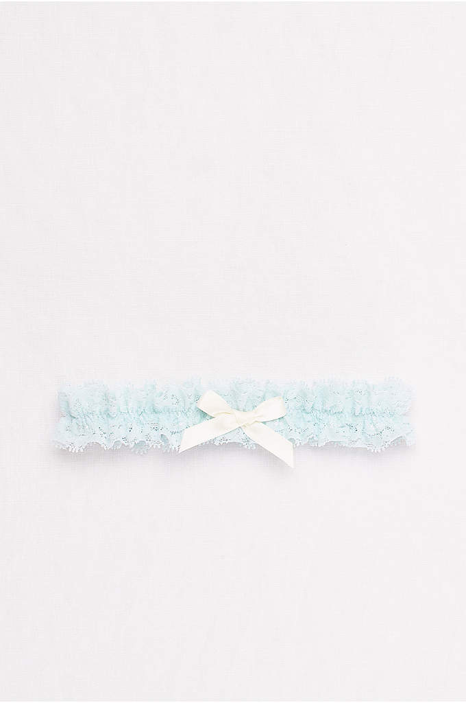 Pale Blue Lace Garter with Ribbon Bow