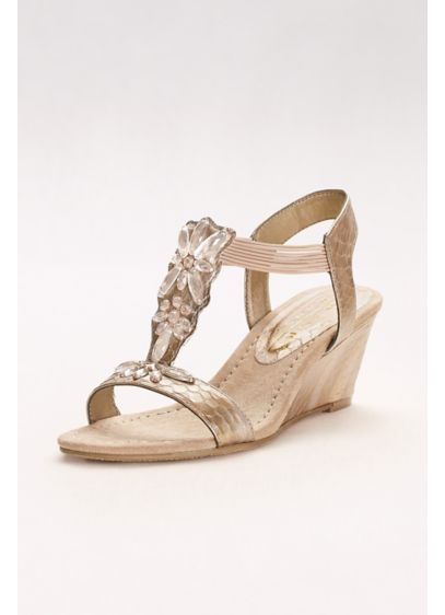 New York Transit Ivory (Embossed T-Strap Wedges with Iridescent Gems)