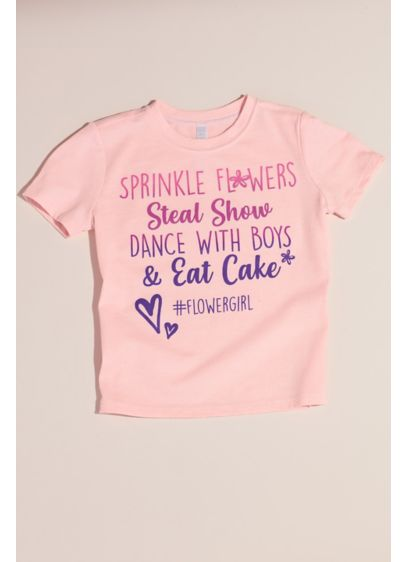 David's Bridal Pink (Sprinkle Flowers and Eat Cake Flower Girl T-Shirt)
