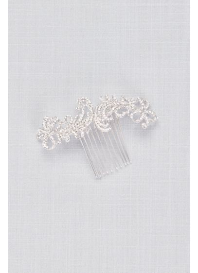 Double Bow Swarovski Crystal Hair Comb - Bookended with dainty bows, this Swarovski crystal comb