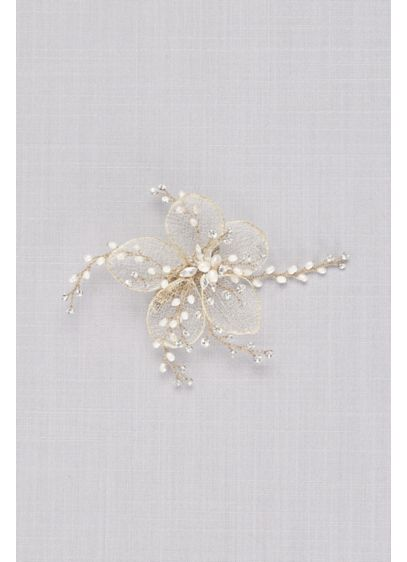 Gilded Mesh Flower Hair Clip with Crystal Sprigs - Featuring sprigs of crystal and pearl, this gilded