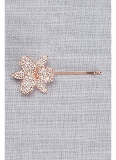 Pave Orchid Bobby Pin - Sparkling pave crystals add glamour to this blooming