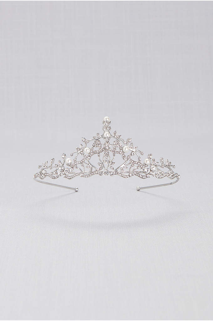 Crystal and Pearl Filigree Tiara - This delicate silver filigree tiara is encrusted with