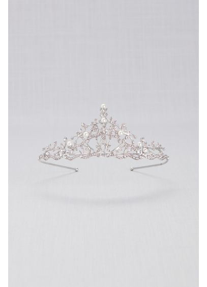 Crystal and Pearl Filigree Tiara - Wedding Accessories