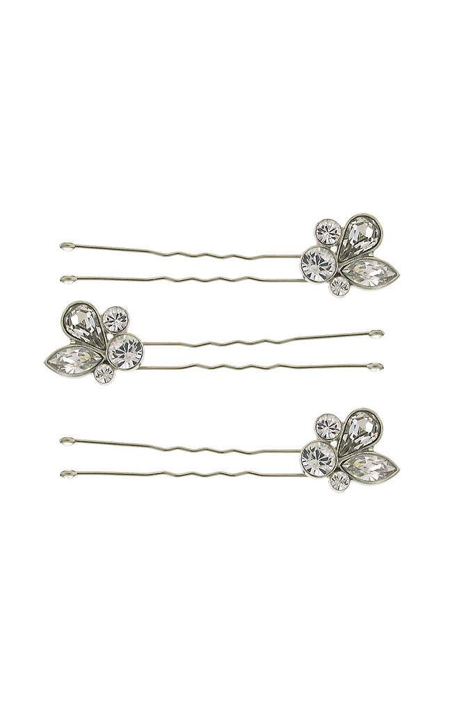 Leafy Crystal Cluster Hair Pin Set - Dot your 'do with this set of three