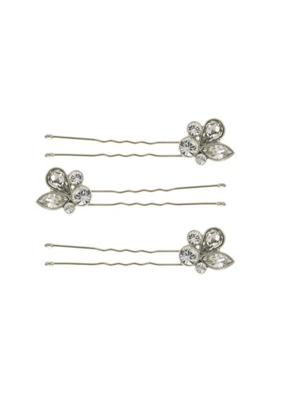 Leafy Crystal Cluster Hair Pin Set - Wedding Accessories