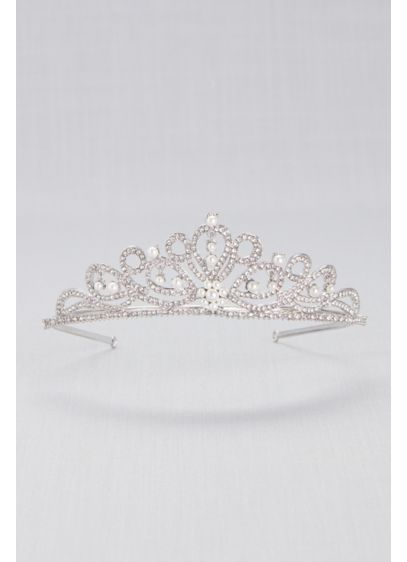 Scrolling Pave Crystal and Pearl Tiara - Wedding Accessories
