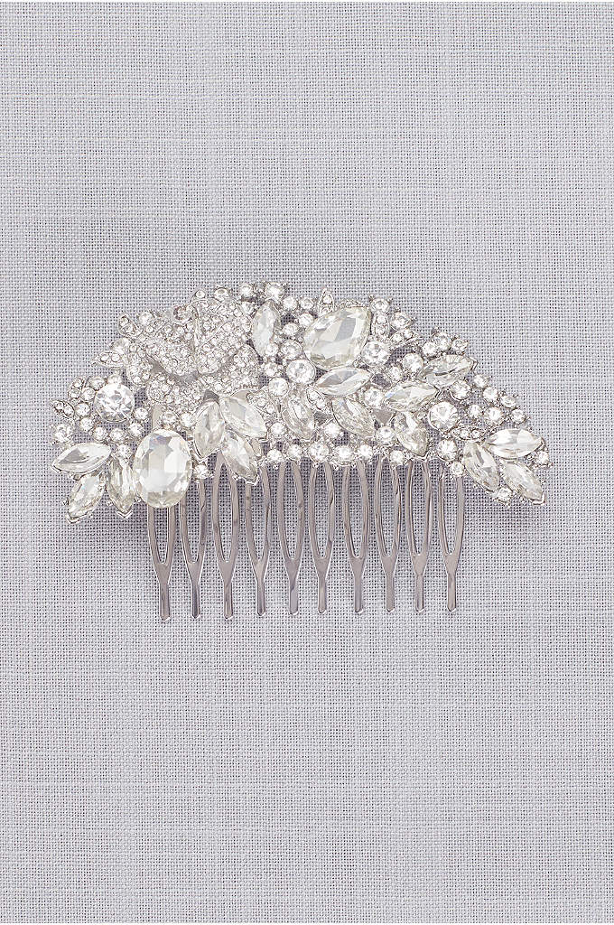 Arched Floral Crystal Cluster Comb - A romantic garden of crystal flowers blooms on