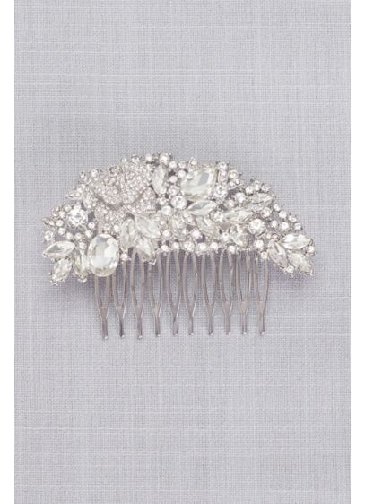 Arched Floral Crystal Cluster Comb - Wedding Accessories