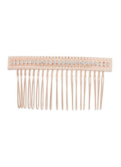 Linear Crystal and Pearl Hair Comb - Wedding Accessories