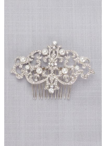 Grand Pearl Filigree Hair Comb - Lustrous pearls add pretty shimmer to a sparkling