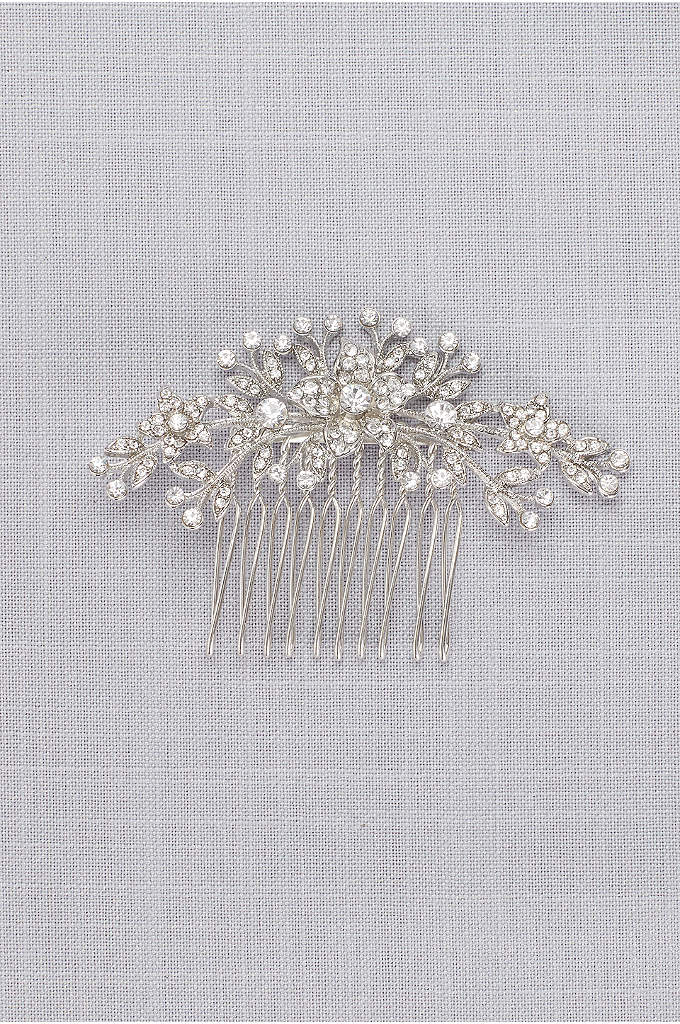 Classic Pave Crystal Floral Comb  - An enduring wedding look, this heirloom-worthy comb is