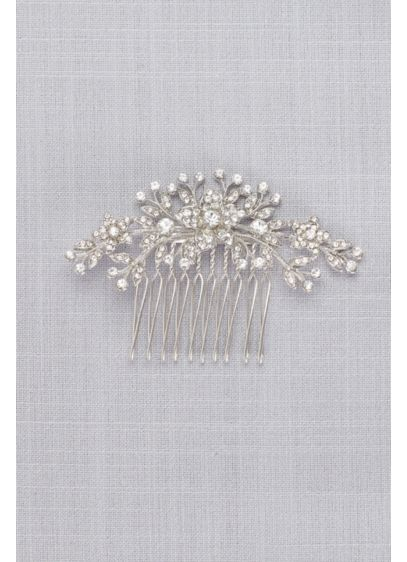 Classic Pave Crystal Floral Comb  - Wedding Accessories