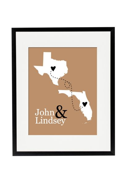 Personalized State Distance Wedding Sign - Wedding Gifts & Decorations