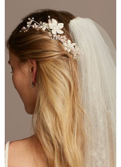 Floral Vine Hair Comb with Crystals and Pearls - Beautiful clusters of pearls and crystals adorn this