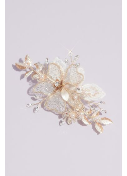 Shimmery Floral Hair Clip with Crystals and Beads - Sparkly crystals and pearl beads adorn this shimmery