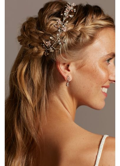 Blooming Marquise Cut Crystal Crown Head Piece - Wedding Accessories