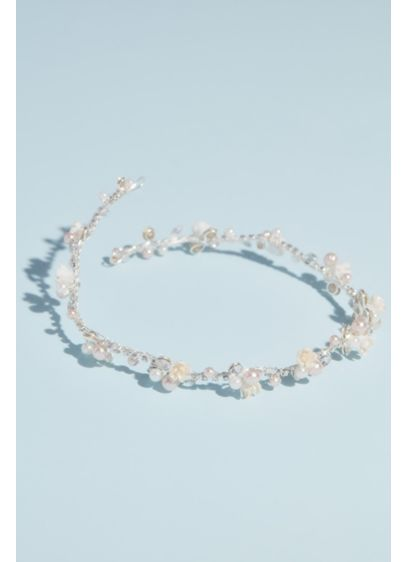 Pearl and Crystal Floral Hair Vine - Soft, pretty, and nature-inspired, this delicate crown is