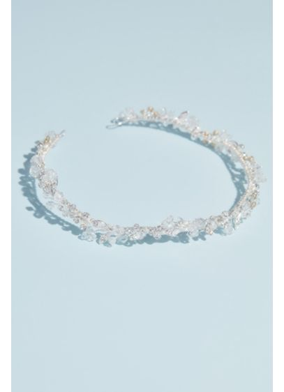 Bead and Crystal Wire Wedding Crown - Soft, pretty, and luminous, this delicate crown is