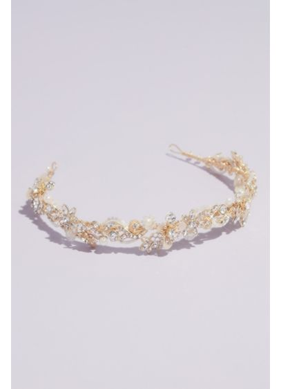 Gilded Floral Crystal Bead and Pearl Headband - Taking botanic inspiration, this headband is covered with