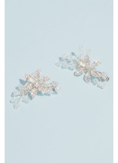 Crystal and Bead Floral Hair Clip Set - Wedding Accessories