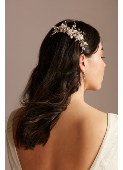 Pearl and Crystal Gilded Flora Comb - Wedding Accessories