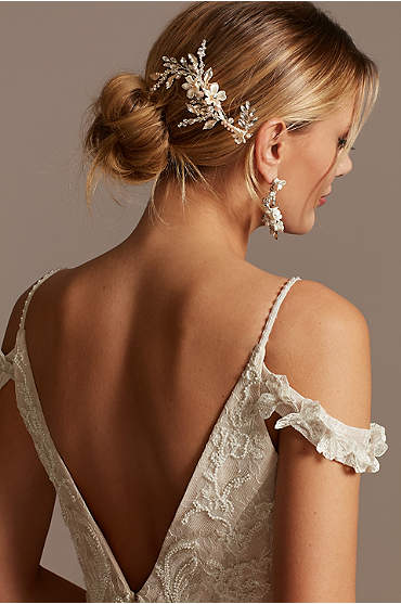 Ivory Floral Bead Pearl and Crystal Comb