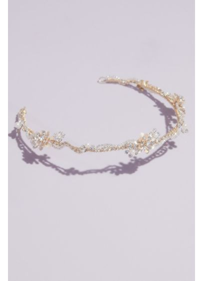 David's Bridal Yellow (Wavy Crystal and Pearl Cluster Headband)