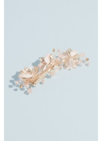 Lustrous Petals and Pearl Sprigs Hair Clip - Wedding Accessories