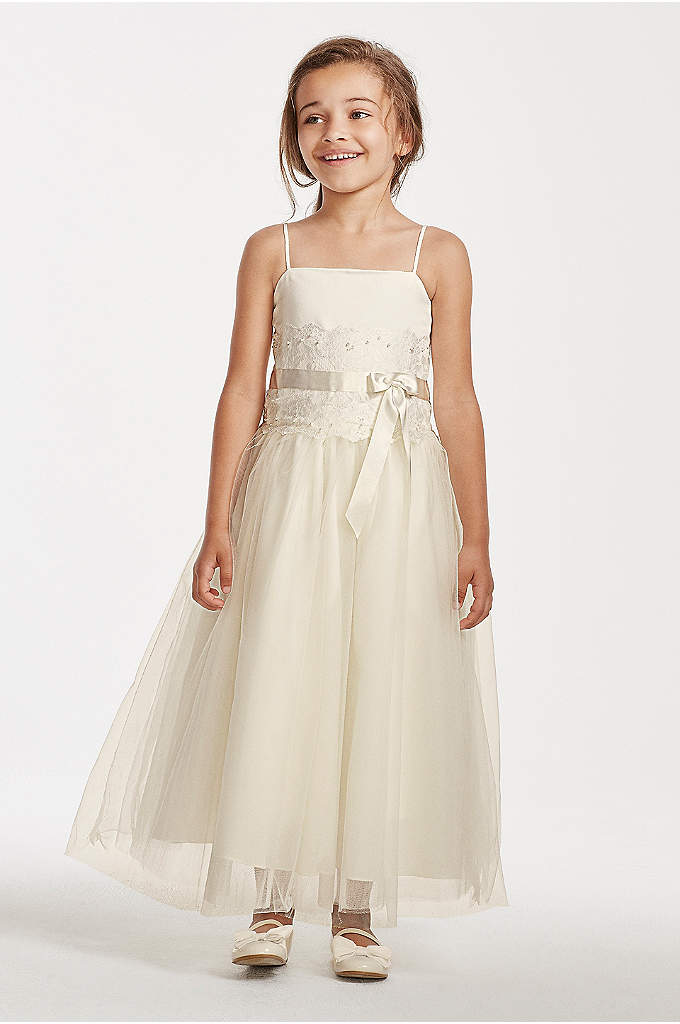 Flower Girl Lace and Tulle Spaghetti Strap Dress - Spaghetti strap bodice with embroidered lace detail and