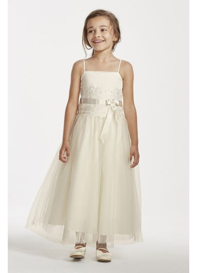 4b19e976ad7 Flower Girl Lace and Tulle Spaghetti Strap Dress. H1173. Long Ballgown Spaghetti  Strap Communion Dress - David s Bridal