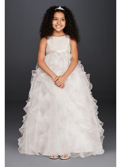 Organza flower girl dress with ruffled skirt davids bridal long ballgown tank communion dress davids bridal mightylinksfo