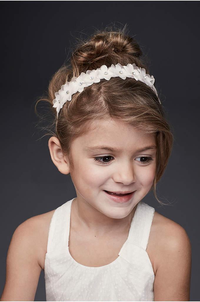 Crystal Daisy Flower Girl Ribbon-Tie Headband