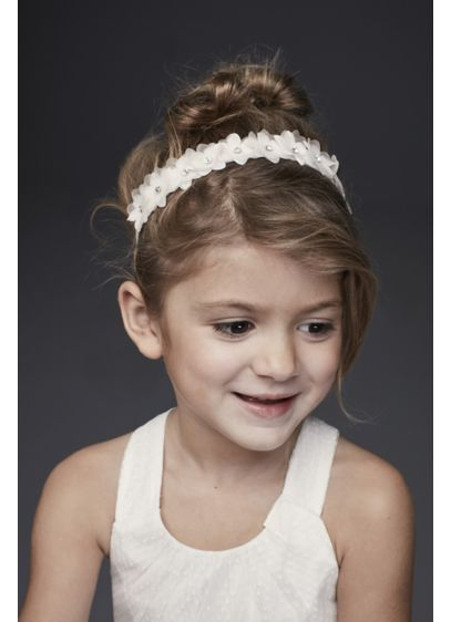 Crystal Daisy Flower Girl Ribbon-Tie Headband - This shimmery daisy headband is a flower-fresh finishing