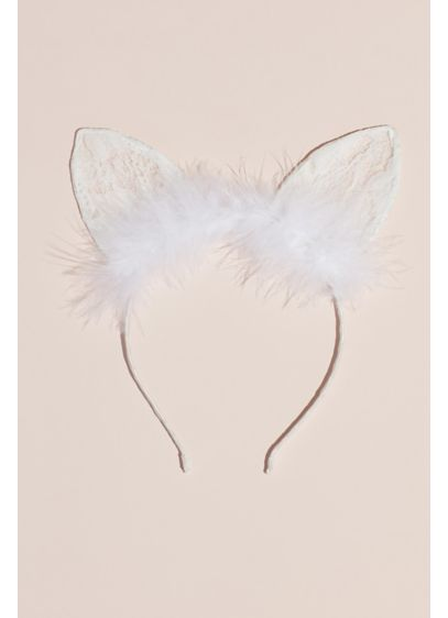 Lace and Feathers Satin-Wrapped Cat Ears Headband - Wedding Accessories