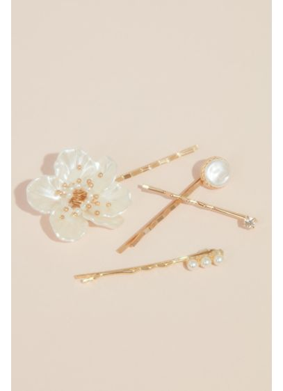 Pearl Flower and Crystal Bobby Pin Set - Wedding Accessories