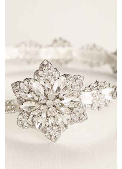 Crystal and Ribbon Side Motif Headband - Wedding Accessories