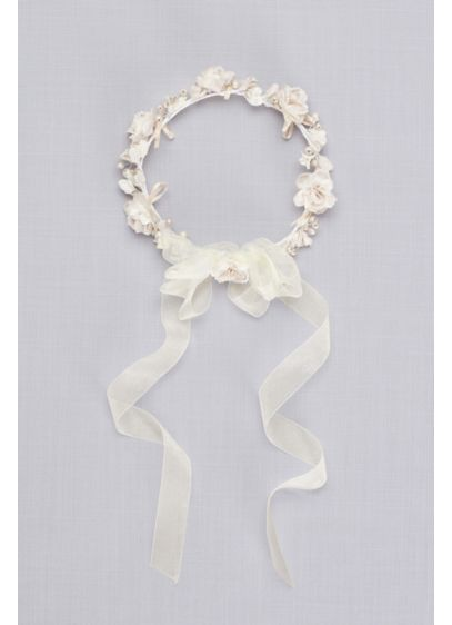 Champagne Pearl Flower Girl Crown - Crafted of fabric blooms and lustrous pearls, this
