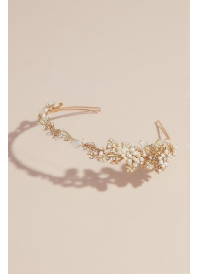 Vintage-Inspired Pearl and Crystal Flower Headband - Wedding Accessories