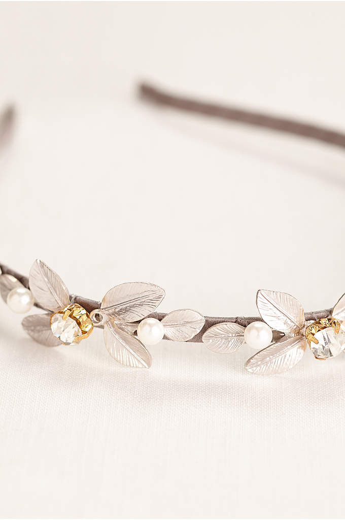 Silver Leaf Headband with Crystal Accents