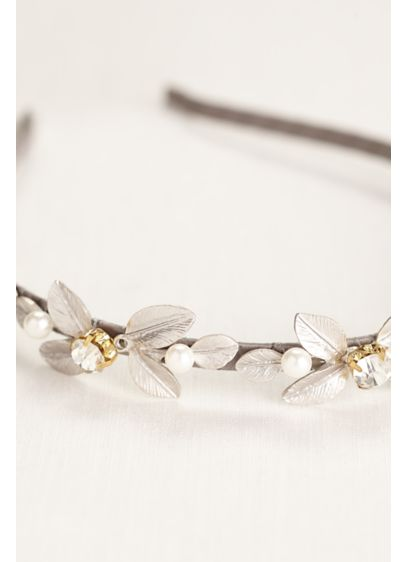 Silver Leaf Headband with Crystal Accents - Wedding Accessories