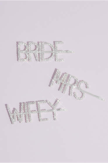 Pave Crystal Bride Mrs Wifey Barrette Set