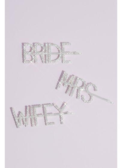 David's Bridal Grey (Pave Crystal Bride Mrs Wifey Barrette Set)
