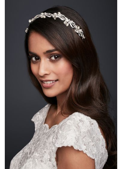 Vintage-Inspired Crystal Leaf Headband - Wedding Accessories
