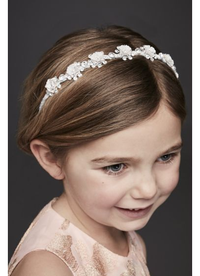 Glitter and Rhinestone Rosette Flower Girl Headban - This satin-wrapped headband's pretty glitter and rhinestone rosebuds