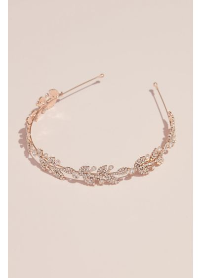 Budding Pave Crystal Leaf Headband - Wedding Accessories